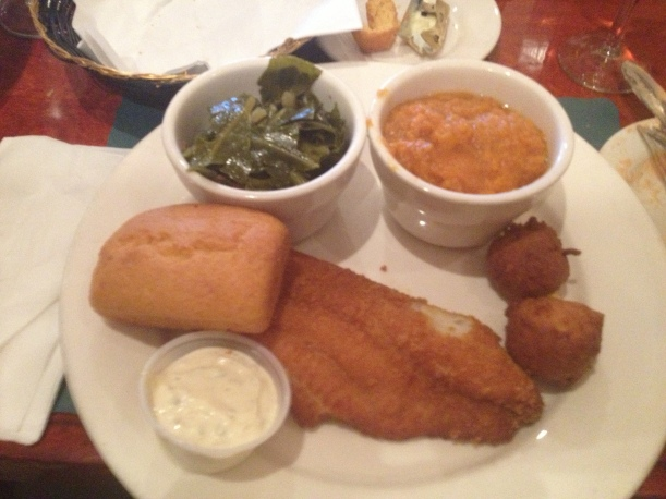 Southern Fried Wild Catfish with Candied Yams and Collard Greens